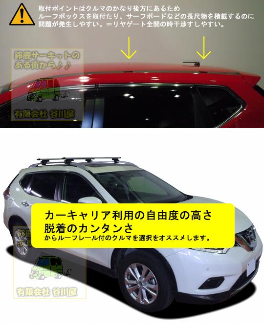 日産 エクストレイルT32系ルーフレール無し=取付ポイント. 日産エクストレイル カーキャリア説明